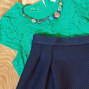 Navy blue fit and flare skirt